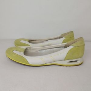Cole Haan Green White Suede Flats Shoes Narrow